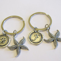 2 Starfish Wax Seal Initial Keychains Best Friends Sisters Couples