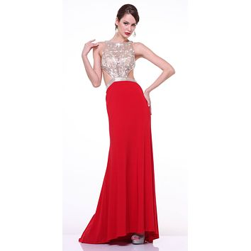 Cinderella Divine 959 Red Halter Beaded Bodice Cut Out Waist Slim Flare Prom Dress