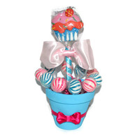Pink and Blue Cupcake Lollipop Candy Centerpiece, Lollipop Centerpiece, Candy Buffet, Candy Centerpiece, Cupcake Centerpiece, Baby Shower