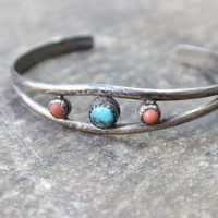 Vintage BRACELET / Southwest Sterling Silver Jewelry / Turquoise and Coral CUFF