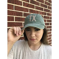 Olive + Pink Retro Hat - Texas