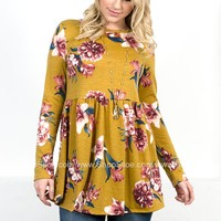Golden Floral Peplum Tunic