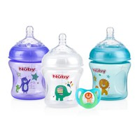 Nuby Natural Touch Tinted 3pk 6oz Bottles with Slow Flow Nipple, with Printed Pacifier, Neutral Assortment - Walmart.com
