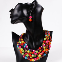 Hot African Beads Jewelry Set Colorful Beaded Statement Maxi Necklace Drop Earrings For Lady Party Jewelry Sets
