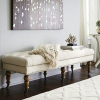 Molly Tufted Bench - Whitewash