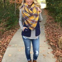 The Perfect Blanket Scarf - Rust/Mustard