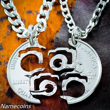 Camera Necklace, Photography Interlocking Cut Coin by NameCoins