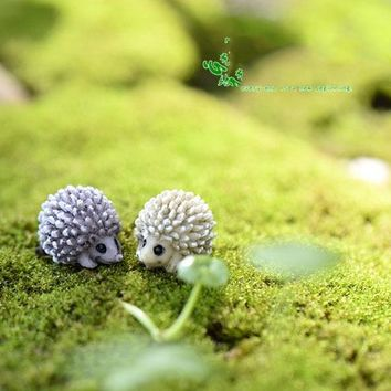 10Pcs/lot Mini Garden Decoration Hedgehog Fairy Garden Miniatures Terrarium Figurines Hedgehogs Decoration Terrarium Figurine