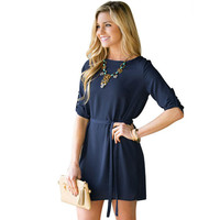 Blue Tie Waist Dress