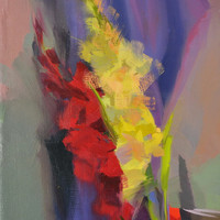 Gladiolus painting - Red yellow floral painting - Summer flowers painting on canvas - Oil painting of florals