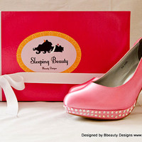 """Sleeping Beauty """"Aurora"""" Couture Style Rose Adult Pair Shoes Dress Shoes Heels Custom Made"""
