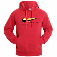 NIKE autumn and winter tide brand chest classic logo men's hooded sweater red
