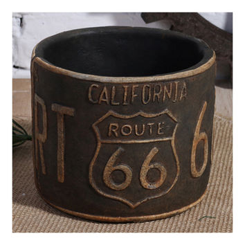 Vintage America 66 Route Car Plate Ashtray Succulent Pot   rust color