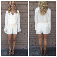 Cream Long Sleeve Ruffle Romper