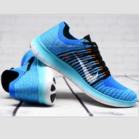 """NIKE"" The new knitted net surface breathable sneaker soft-soled running casual shoes Blue"