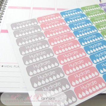 45 Hydrate Planner Stickers Erin Condren Planner ECLP Fitness Stickers Plum Paper Planner Grey-Pink-Teal-Green-Purple