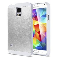 Galaxy S5 Case, ULAK Slim 2in1 Hybrid Dual Layer Protective Brushed Hard Case Cover Scratch Resist Metallic Bumper Case for Samsung Galaxy S5 / Galaxy SV (2014) (White/Silver)