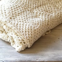 Crochet Bed Cover Shabby chic knitted bed cover by MeshuMaSH