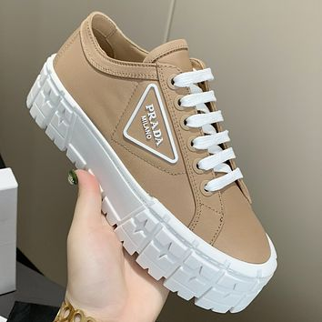Prada New Canvas Embroidered Platform Shoes Women's Triangle Logo Casual Shoes sneakers Khaki
