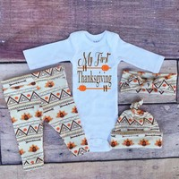 4 pcs/set  Unisex Coming Home Outfit,My First Thanksgiving,Baby Thanksgiving Outfit,Fall Outfits,Orange,Brown,
