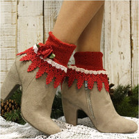 ROMANCE ROSE double lace socks - red