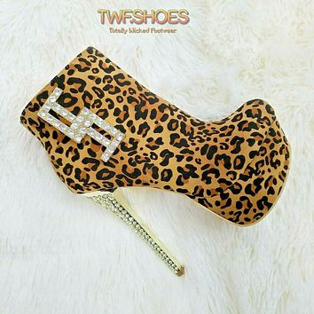 "Money Bling Dollar Symbol Leopard Ankle Boots 6"" Platform High Heel Shoes 6-10"