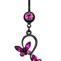 Blackline Butterfly Glass-Gem Loop Belly Button Ring