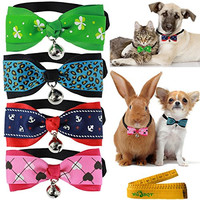 Cat Dog Rabbit Pet Bow tie Collar with Cloth Bowknot and Alloy Bell for Small Cats Kitten Dogs Puppy Rabbits, Pack of 4(Green Clover, Blue Leopard Print, Red & Blue Anchor, Pink Heart )