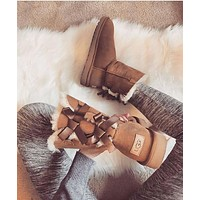 Ugg Bow Leather Boots Boots In Tube Boots Shoes