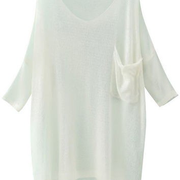 White Semi Sheer Knit Blouse