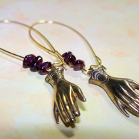 Gemstone Garnet and Vintage Hand Victorian Charm Earrings - Edward Scissorhands Inspired, Macabre, Whimsical