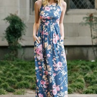 Garden Party Maxi Dress -  Blue