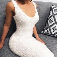 Summer Knit Slim Vest Leisure Dress Women White