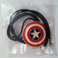 Marvel Avengers Captain America Sterling Silver Shield Pendant with Black Leather Rope Necklace