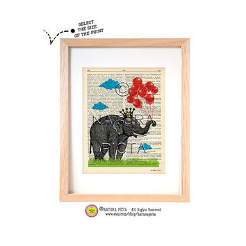 Crowned Elephant with red balloons dictionary print-Elephant art print-Elephant on book page-Upcycled Vintage Dictionary art-by NATURA PICTA