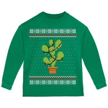 CREYON Cactus Prickly Pear Tree Ugly Christmas Sweater Toddler Long Sleeve T Shirt