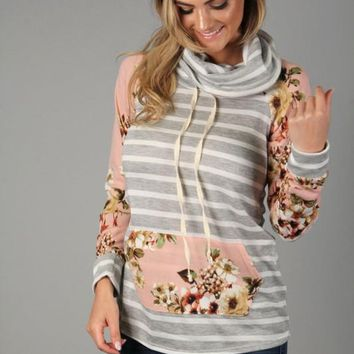 Pink and Gray Striped Sweater