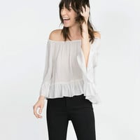 Off-Shoulder Sleeve Ruffled Chiffon Shirt