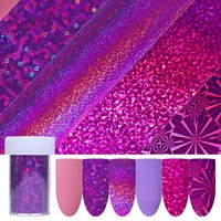 6Pcs Holographic Starry Nail Foil Purple Pink Nail Art Transfer Sticker Manicure Nail Decoration Water Sticker Nail Art Decals