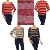 Sexy Striped Scoop Neck 3/4 Dolman Sleeve Hi-Low Hem Textured Knit Low Cut Top