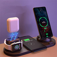 6 in 1 Wireless Charger Dock Station for iPhone/Android/Type-C USB Phones 10W Qi Fast Charging For Apple Watch AirPods Pro