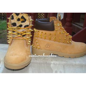 Custom Gold Spiked Timberland with Cheetah Leopard Print