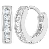 Rhodium Plated Clear Crystal Small Huggie Hoop Girl Earrings Kids 0.39""