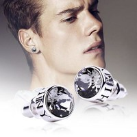 LEPAPILLION 925 Sterling Silver Men Earring Personality Fashion Round Crystal Stud Earrings Pendientes Moda Brincos Male