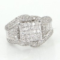 Estate 1.84ct Pave Diamond Cocktail Ring 14 Karat White Gold Vintage Fine Jewelry 7