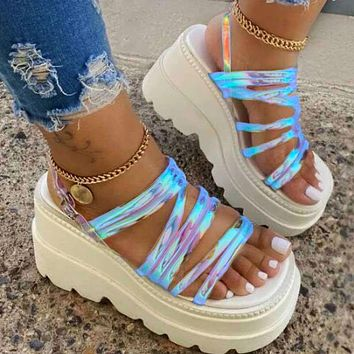 2020 summer new women's shoes transparent sandals with strappy sole shoes laser  White soles+Blue laser vamp
