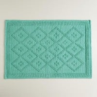 Sea Blue Woven Diamond Bath Mat