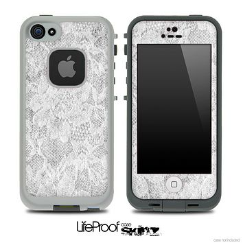 White Flower Lace Skin for the iPhone 5 or 4/4s LifeProof Case