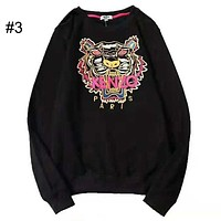KENZO 2018 new embroidered tiger head couple models round neck loose hooded sweater #3