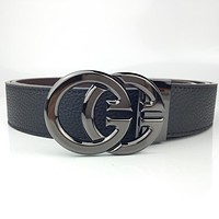 GUCCI retro simple GG logo belt buckle belt